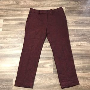 Ann Taylor Burgundy Devin Fit Ankle Trouser Pants